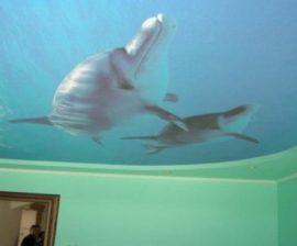 Натяжные потолки фото для спальни с рисунком 3д